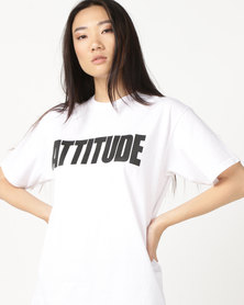AX Paris Attitude Slogan T-Shirt White