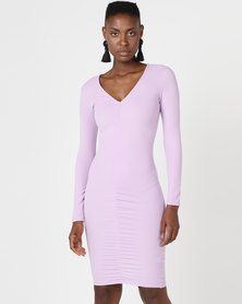 AX Paris Ruched Sleeved Dress Lilac