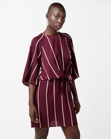 AX Paris Striped Tie Waist Mini Dress Plum