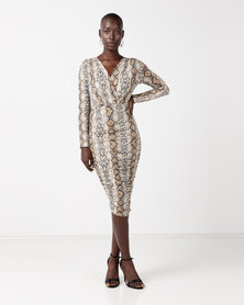 AX Paris Ruched Snakeskin Slinky Wrap Dress Multi