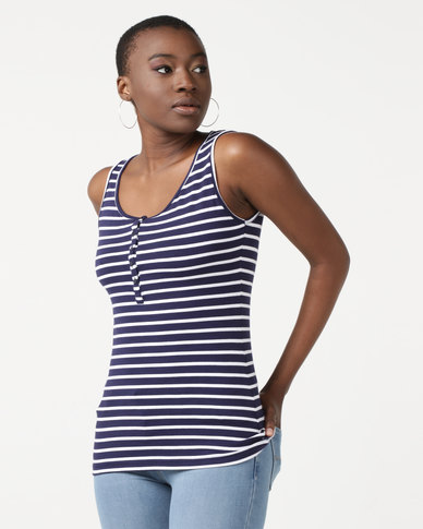 Utopia Henley Vest  Dark Navy/White Stripe