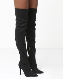 AX Paris Over The Knee Heeled Boots Black