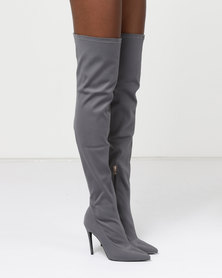 AX Paris Over The Knee Heeled Boots Grey