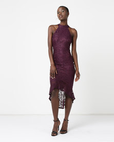 AX Paris Racer Neck Fishtail Dress Plum