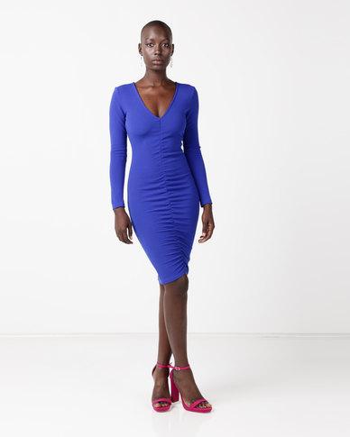 AX Paris Ruched Sleeved Dress Cobalt