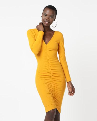 AX Paris Ruched Sleeved Dress Mustard