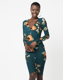 AX Paris Printed Ruched Midi Dress Teal