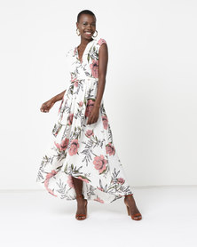AX Paris Floral Maxi Wrap Dress Cream