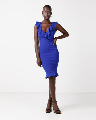 AX Paris V-Neck Peplum Midi Dress Blue