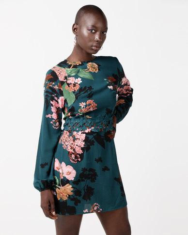 AX Paris Floral Crochet Waist Dress Teal
