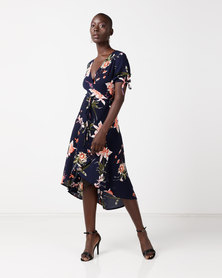 AX Paris Floral Print Wrap Dress Navy
