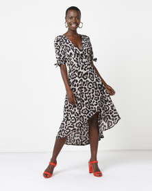 AX Paris Animal Print Tie Detail Dress Multi