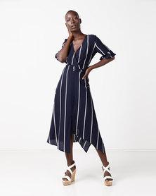 AX Paris Asymmetric Hem Dress Navy Striped
