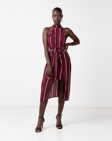 AX Paris Striped Tie Waist Dress Plum