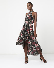 AX Paris Floral Asymmetric Choker Neck Midi Dress Black