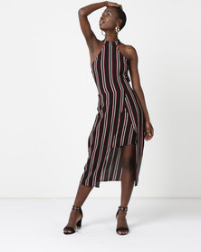 AX Paris Halterneck Stripe Dress Black