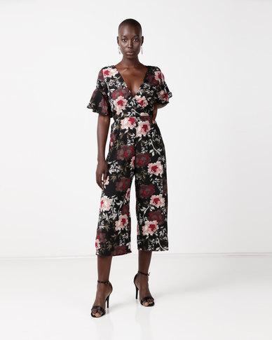 AX Paris Wrap Frill Sleeve Jumpsuit Black Floral