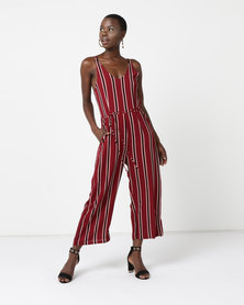 AX Paris Striped Tie Waist Jumpsuit Wine
