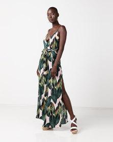 AX Paris Wrap Front Jumpsuit Leaf Print