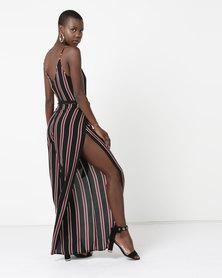 da92263f933d London Hub Fashion Vertical Stripe Belted Jumpsuit White