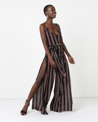 AX Paris Tie Waist Jumpsuit Black Striped