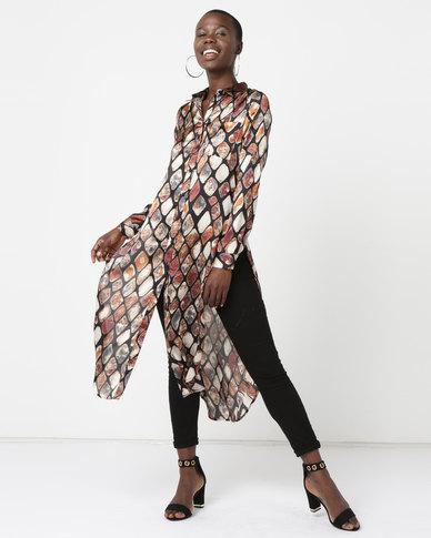 City Goddess London Printed Shirt Dress Multi