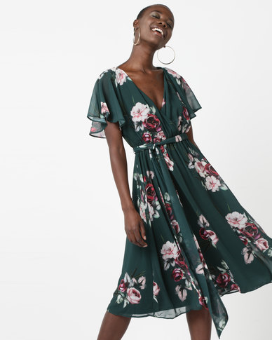 City Goddess London Floral Print Midi Dress With Flutter Sleeves Green