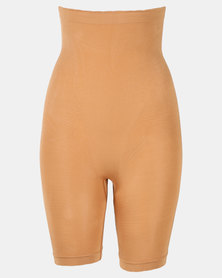Covet High Waisted Long Leg Shorts Nude