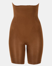 Covet Shapewear High Waisted Long Leg Shorts Mocha