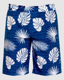 Vivolicious Active Cruiser Men's Shorts Monstera Blue