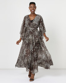 G Couture Kimono Sleeve Lined Maxi Dress Animal Print Multi