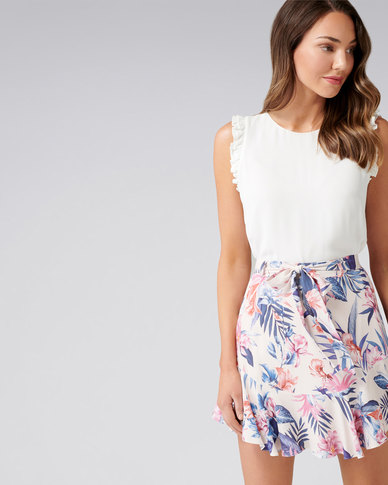 Forever New Tilly Flippy Co ord Mini Skirt Tropical Orchid