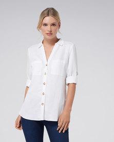 Forever New Heather Linen Relaxed Shirt White