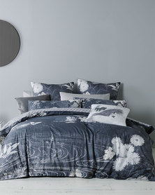 Linen House Ikumi Duvet Cover Set Charcoal