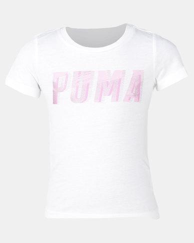 Puma Girls Graphic Tee White