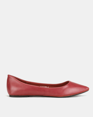Utopia Pointy Flat Pumps Burgundy