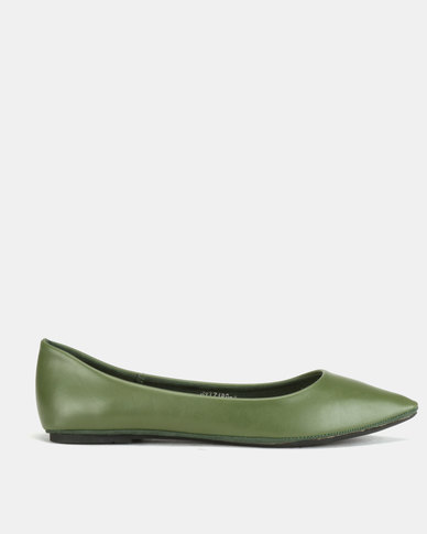 Utopia Pointy Flat Pumps Olive