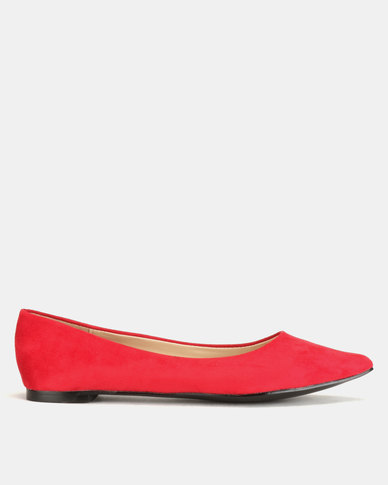 Utopia Microfibre Pointy Flats Red