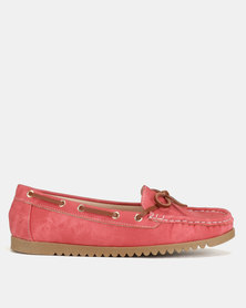 Utopia Docksider Slip Ons Red