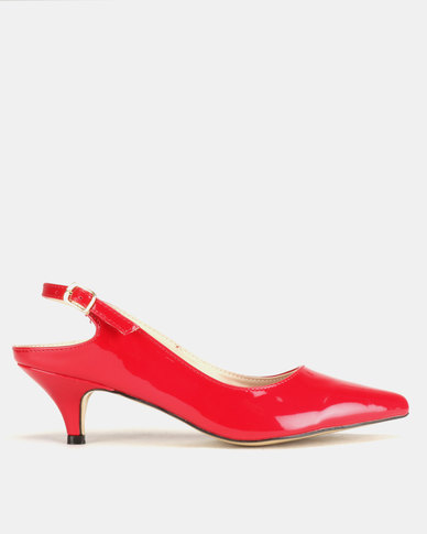 Utopia Long Waist Slingbacks Red