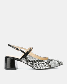 Utopia Snake Embossed Kitten Heels Black