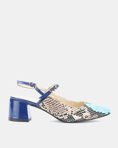 Utopia Snake Embossed Kitten Heels Blue