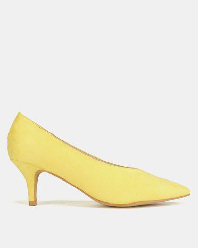 Utopia Sweetheart Kitten Court Heels Yellow