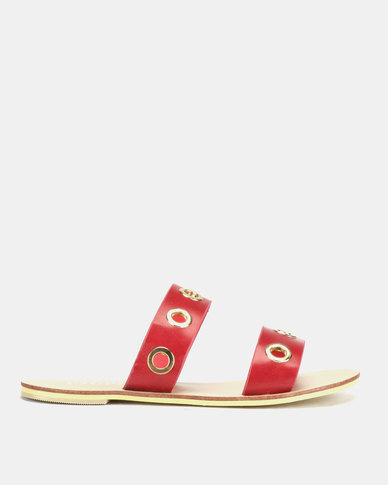 Utopia Eyelet Sandals Red