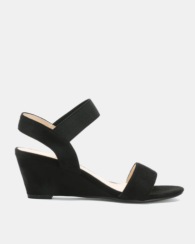 Utopia Elastic Mid Wedge Sandals Black