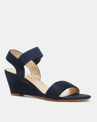 da2583cc8fe4 Utopia Elastic Mid Wedge Sandals Navy