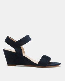 Utopia Elastic Mid Wedge Sandals Navy