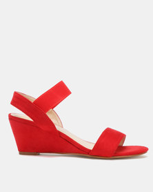 Utopia Elastic Mid Wedge Sandals Red