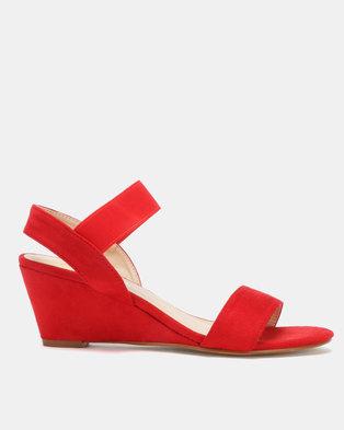 Utopia Elastic Mid Wedge Sandals Red