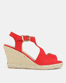 Utopia Espadrille Wedge Sandals Red